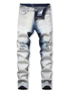 Light Wash Destroyed Tapered Jeans - White 36