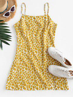 Printed Slit Sheath Cami Dress - Yellow Xl