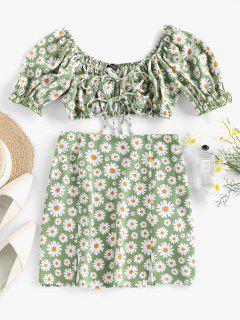 ZAFUL Daisy Print Slit Tie Front Ruffle Skirt Set - Light Green L