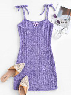 Knitted Butterfly Embroidered Tie Shoulder Dress - Light Purple M