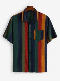 Chemise Vintage Rayée Colorée Imprimée Avec Poche - Bleu Profond 2xl