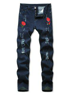 Floral Embroidered Ripped Design Jeans - Deep Blue 38