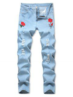 Floral Embroidered Ripped Design Jeans - Light Blue 38
