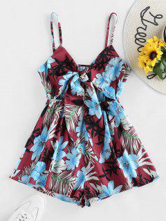 ZAFUL Front Tie Floral Print Cami Romper - Firebrick S