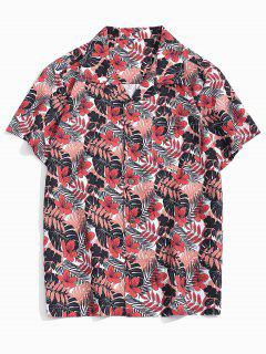 Tropical Leaf Print Pocket Patch Vacation Shirt - Multi Xs