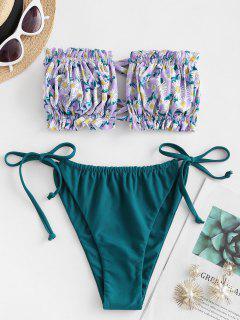 ZAFUL Flower Print Ruffle Tie Side Bandeau Bikini Swimwear - Light Purple L