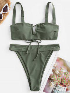 Bikini De Corte Alto Con Cable V ZAFUL - Verde Claro M