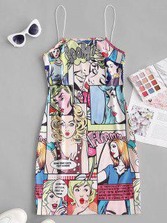 Bungee Straps Pop Art Figure Print Bodycon Dress - Yellow S