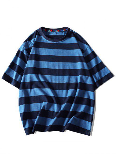 Contraste Carta das Listras Camiseta Mangas Curtas - Azul Marinho 2XL Mobile