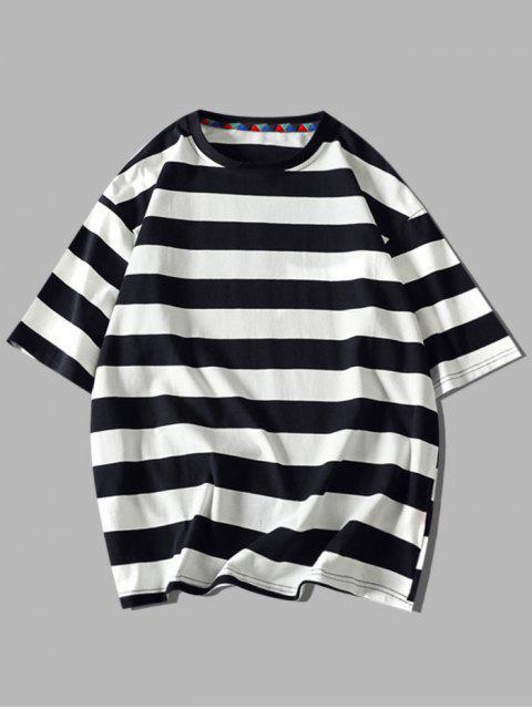 Contraste Carta das Listras Camiseta Mangas Curtas - Preto 3XL Mobile