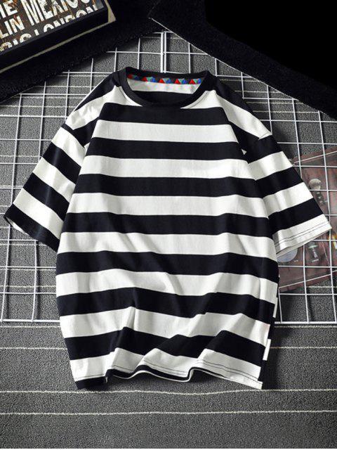 Contraste Carta das Listras Camiseta Mangas Curtas - Preto L Mobile