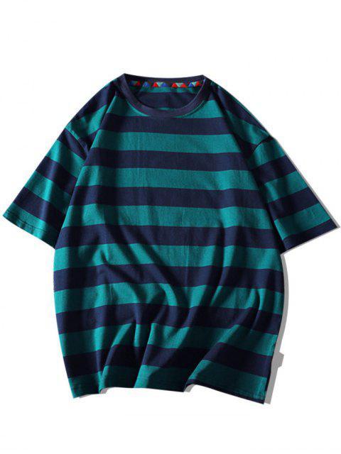 Contrast Stripes Letter Print Short Sleeve T-shirt - أخضر غامق 3XL Mobile