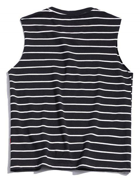 Striped Print Casual Tank Top - أسود 2XL Mobile