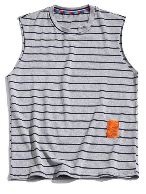 Striped Print Casual Tank Top - رمادي فاتح 2XL Mobile