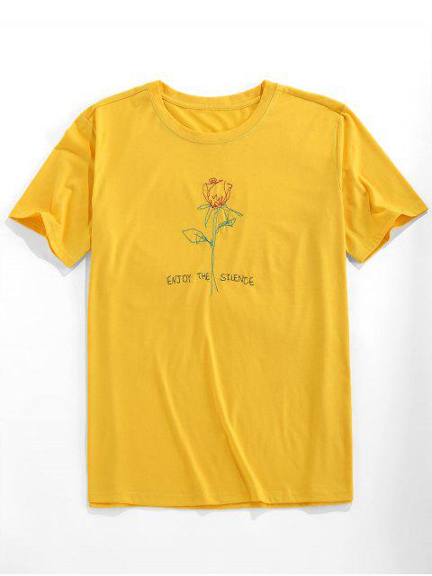 ZAFUL Short Sleeve Rose Pattern Embroidery T-shirt - أصفر فاقع XL Mobile