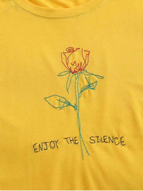 ZAFUL T-shirt de Manga Curta com Bordado de Rosa - Amarelo Brilhante XL Mobile