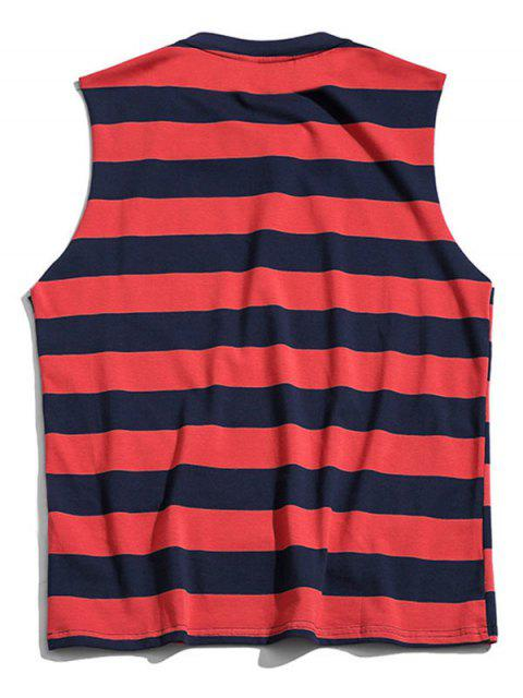 outfit Color Blocking Letter Pattern Tank Top - LAVA RED 4XL Mobile
