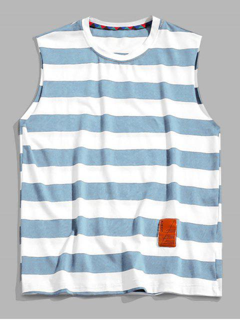 womens Color Blocking Letter Pattern Tank Top - LIGHT BLUE XL Mobile
