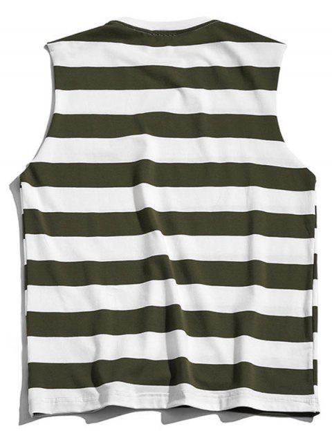 Débardeur Motif de Lettre en Blocs de Couleurs - Vert Camouflage XL Mobile