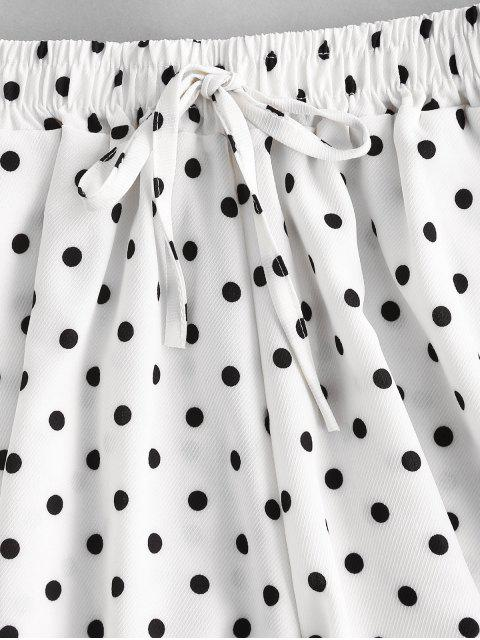 shops Polka Dot Wide Leg Tie Pocket Shorts - WHITE L Mobile