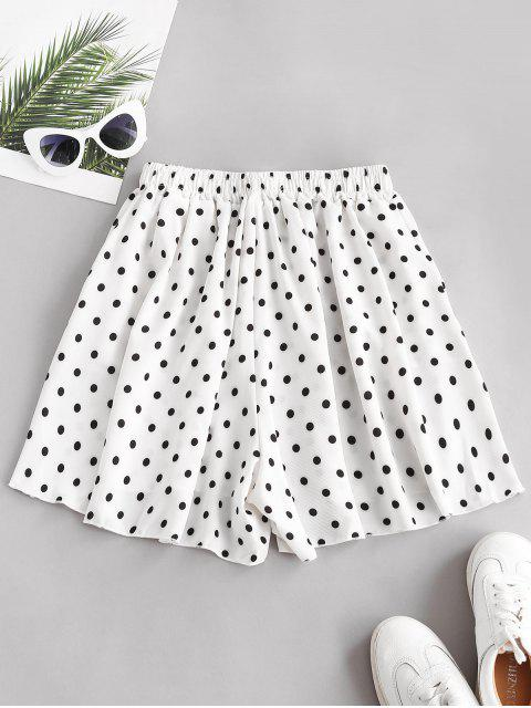 women's Polka Dot Wide Leg Tie Pocket Shorts - WHITE 2XL Mobile