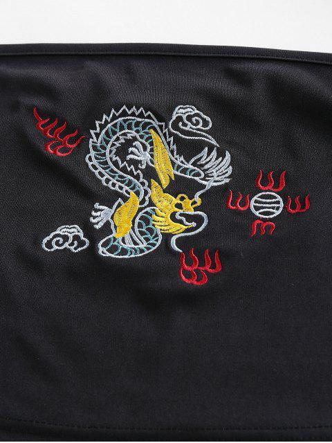 ZAFUL Haut Tube Court Dragon Brodé - Noir XL Mobile
