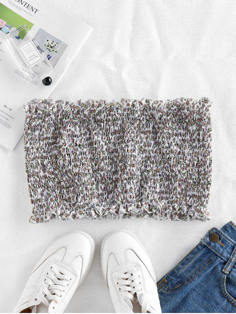 fashion ZAFUL Smocked Ditsy Floral Bandeau Top - WHITE M Mobile