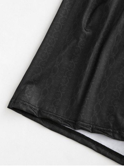 shop Surplice Low Cut Cap Sleeve Print Romper - BLACK S Mobile