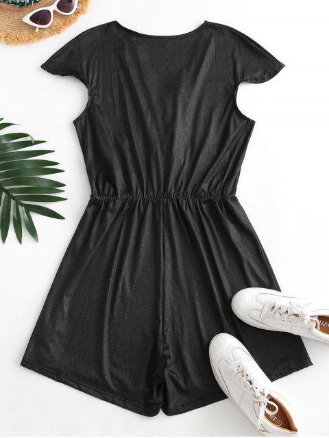 trendy Surplice Low Cut Cap Sleeve Print Romper - BLACK L Mobile