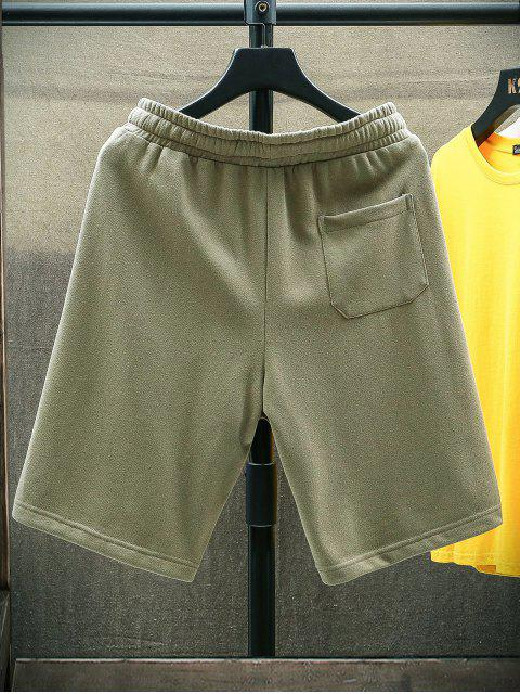 latest Letter Graphic Casual Straight Shorts - ARMY GREEN XS Mobile
