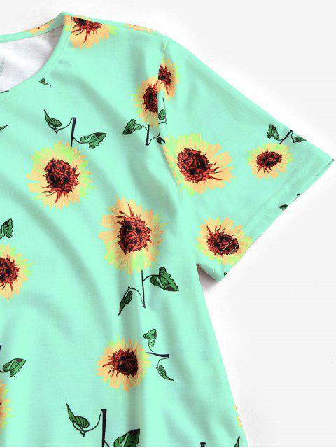 online Sunflower Print Trapeze T-shirt Dress - GREEN L Mobile