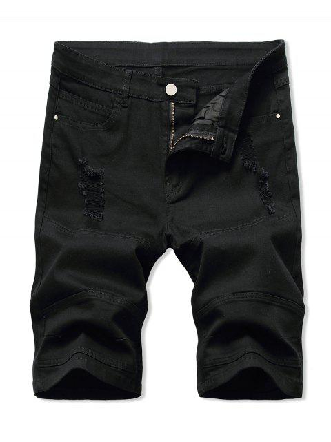 fashion Distressed Casual Denim Shorts - BLACK 32 Mobile