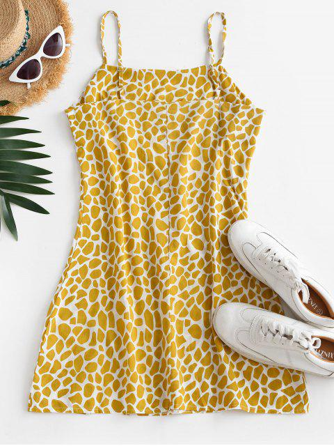 sale Printed Slit Sheath Cami Dress - YELLOW XL Mobile