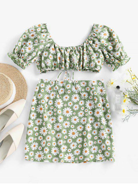 women's ZAFUL Daisy Print Slit Tie Front Ruffle Skirt Set - LIGHT GREEN L Mobile