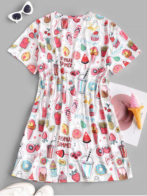 new ZAFUL Fruit Ice Cream Drop Shoulder Tee Dress - WHITE M Mobile