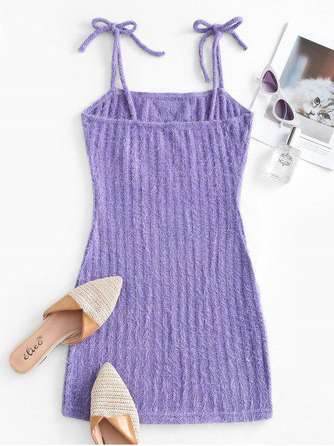 Knitted Butterfly Embroidered Tie Shoulder Dress - ضوء ارجواني M Mobile