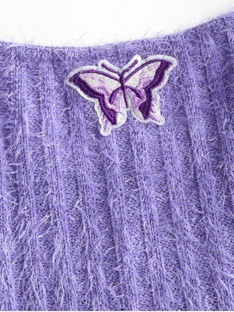 Vestito in Maglia con Spalle Annodate e Ricamo a Farfalla - Viola chiaro M Mobile