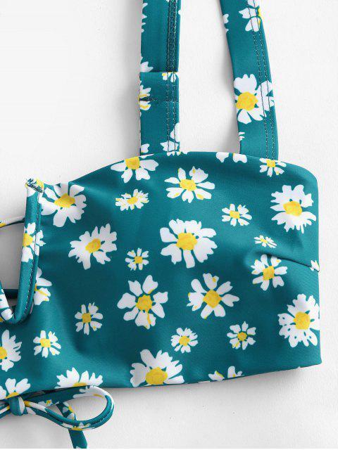 latest ZAFUL Daisy Print V Wired Tie Back Padded Bikini Swimwear - DEEP GREEN S Mobile