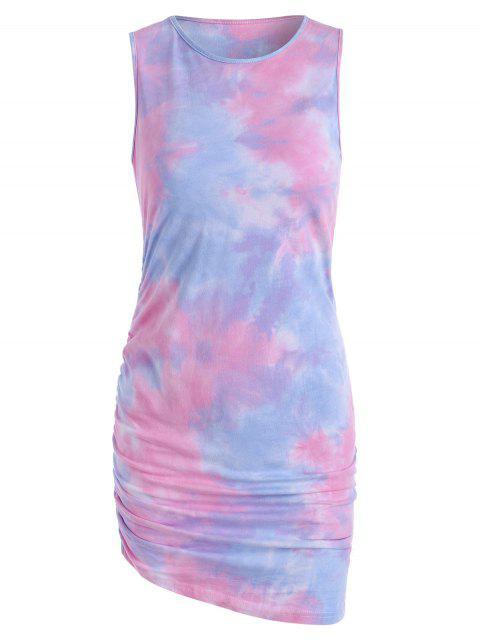 women's Tie Dye Draped Tank Dress - LIGHT PINK M Mobile
