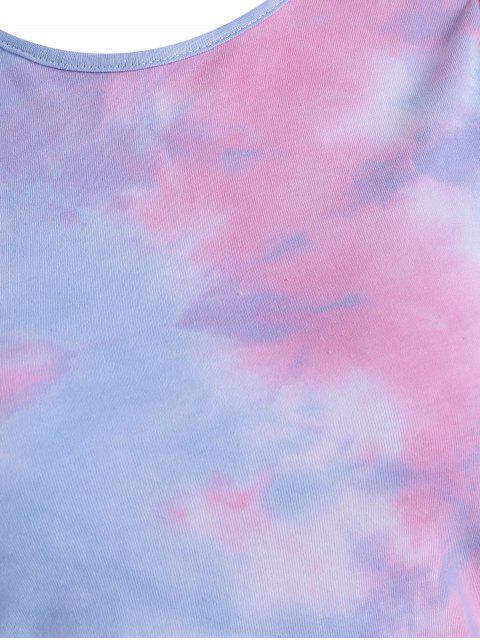 women's Tie Dye Draped Tank Dress - LIGHT PINK L Mobile