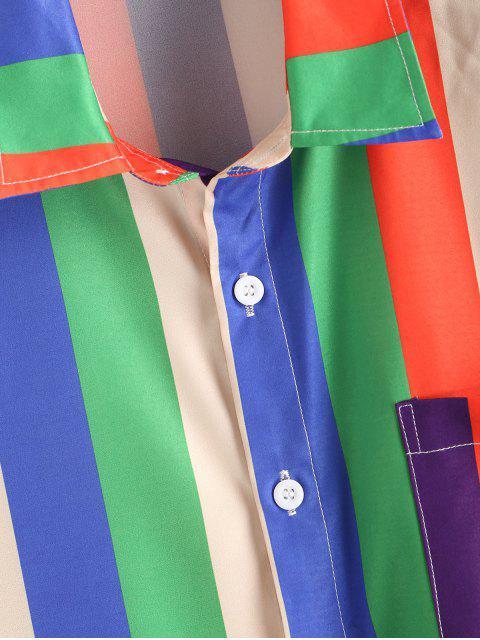 women Colorful Striped Print Short Sleeve Pocket T-shirt - MULTI 2XL Mobile