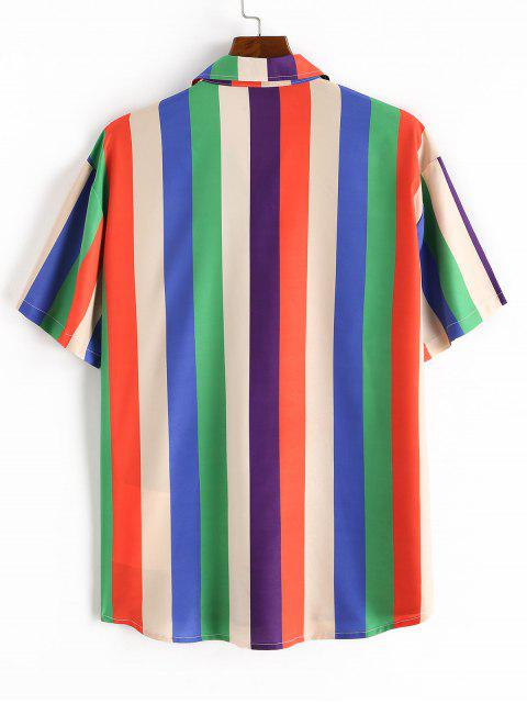Colorful Striped Print Short Sleeve Pocket T-shirt - متعدد 2XL Mobile