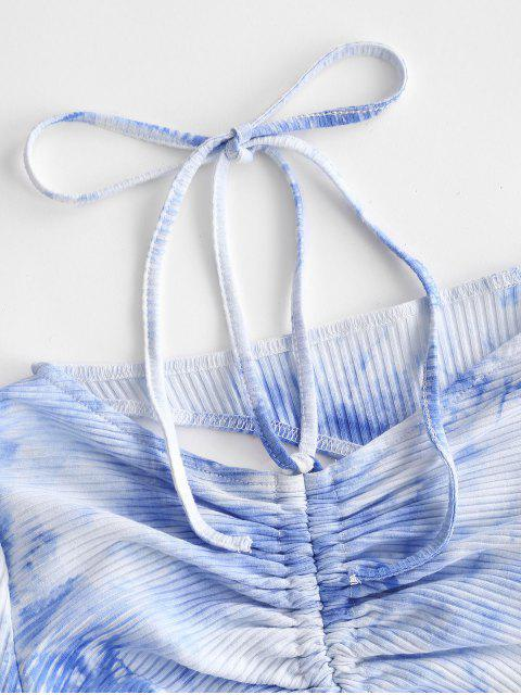 trendy Sky Tie Dye Ribbed Cinched Cutout Two Piece Set - LIGHT BLUE L Mobile