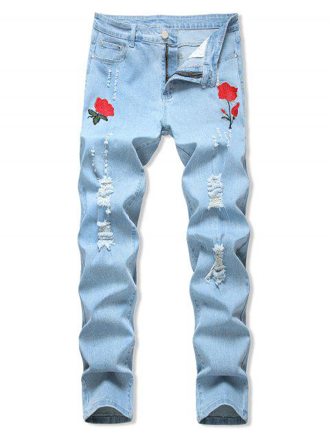 fancy Floral Embroidered Ripped Design Jeans - LIGHT BLUE 38 Mobile