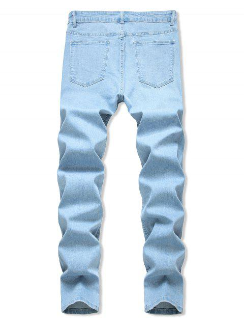 unique Floral Embroidered Ripped Design Jeans - LIGHT BLUE 40 Mobile