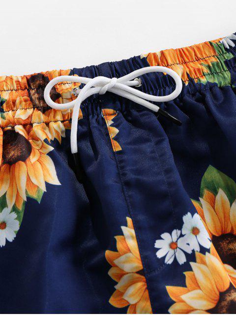 shops ZAFUL Sunflower Print Drawstring Board Shorts - DEEP BLUE L Mobile