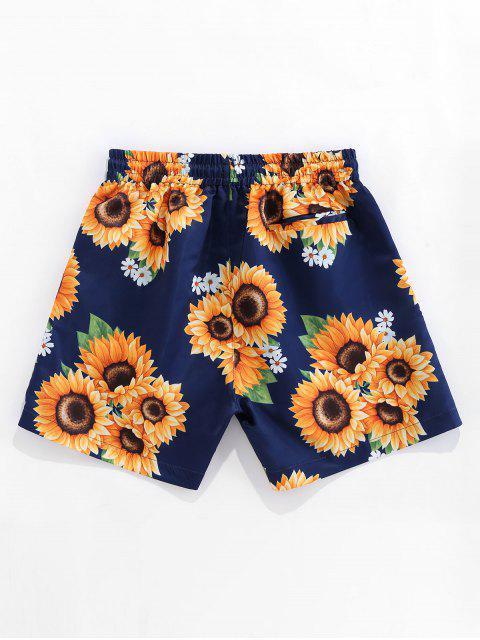 trendy ZAFUL Sunflower Print Drawstring Board Shorts - DEEP BLUE 2XL Mobile