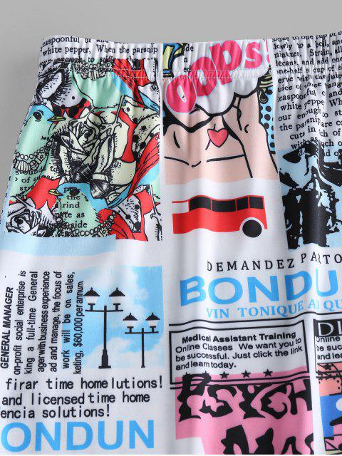 trendy ZAFUL Slit Newspaper Pop Art Print Mini Skirt - WHITE L Mobile