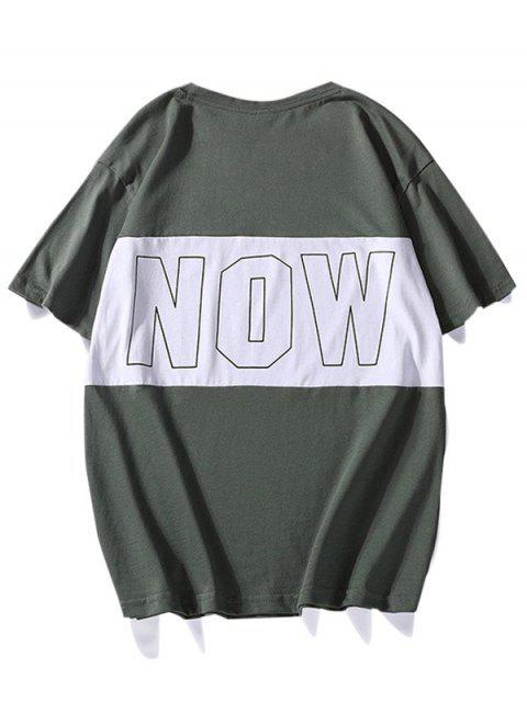 Maglietta Grafica Casuale a Girocollo a Contrasto - Verde Trifoglio XS Mobile
