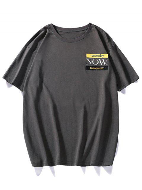 T-shirt Décontracté GraphiqueContrasté àCol Rond - Gris Foncé XS Mobile